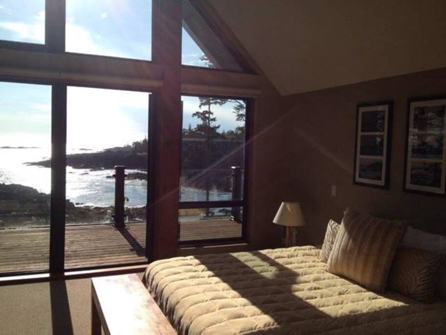 Master bedroom with upper balcony and ocean view.  Can see many Eagles.