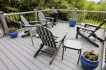 Expansive outdoor deck with Weber charcoal grill