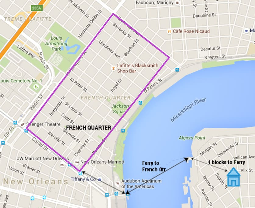 Walk/ferry to the French Quarter, Central Business District, and Streetcar connections