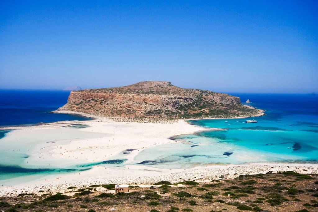 The amazing Balos lagoon. You can reach this place by car or boat from Kissamos port.