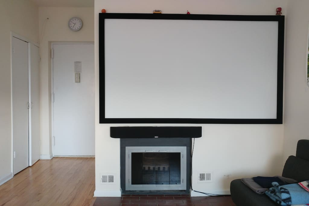 Fireplace, projector and sound bar