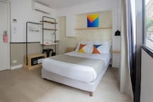 Comfortable room with graphic details
