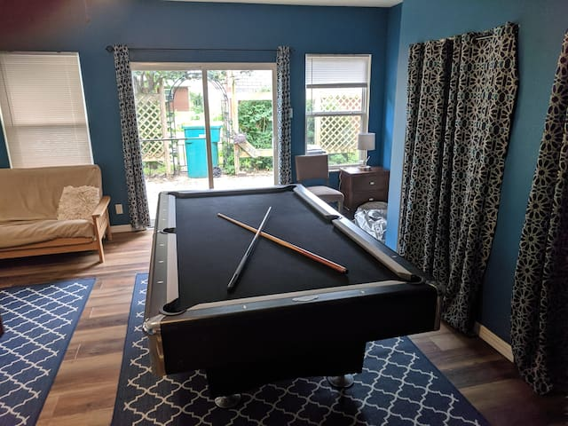 Game room: featuring pool, basketball, foosball and more.