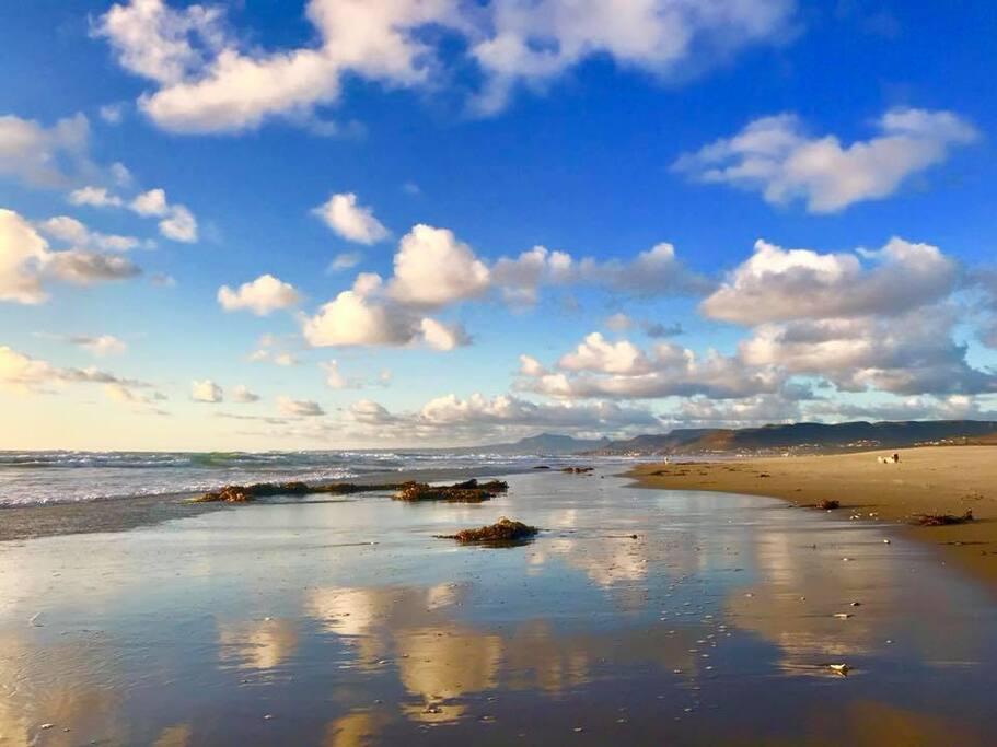 Beach down the hill 8 minute walk