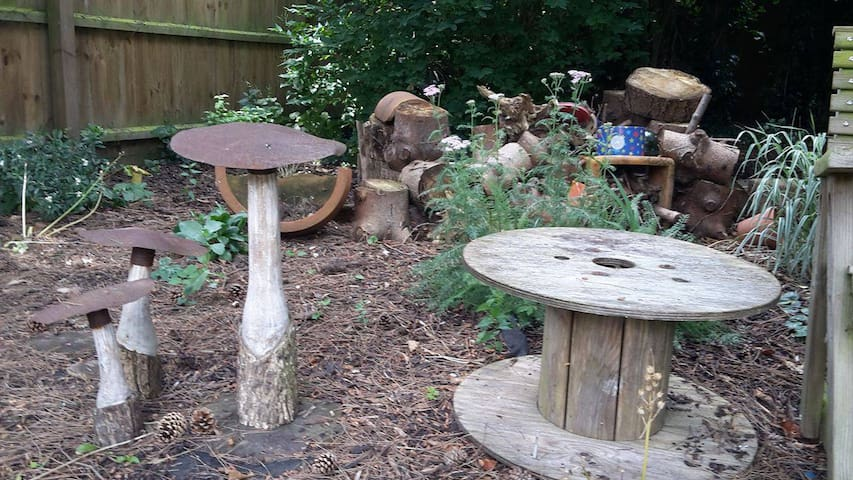 The nature garden, complete with bug hotel