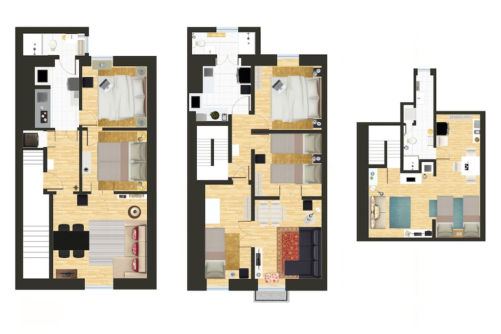 Floorplan for the 3 apartments: first floor, second floor and studio