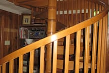 Spiral staircase if entering from garage