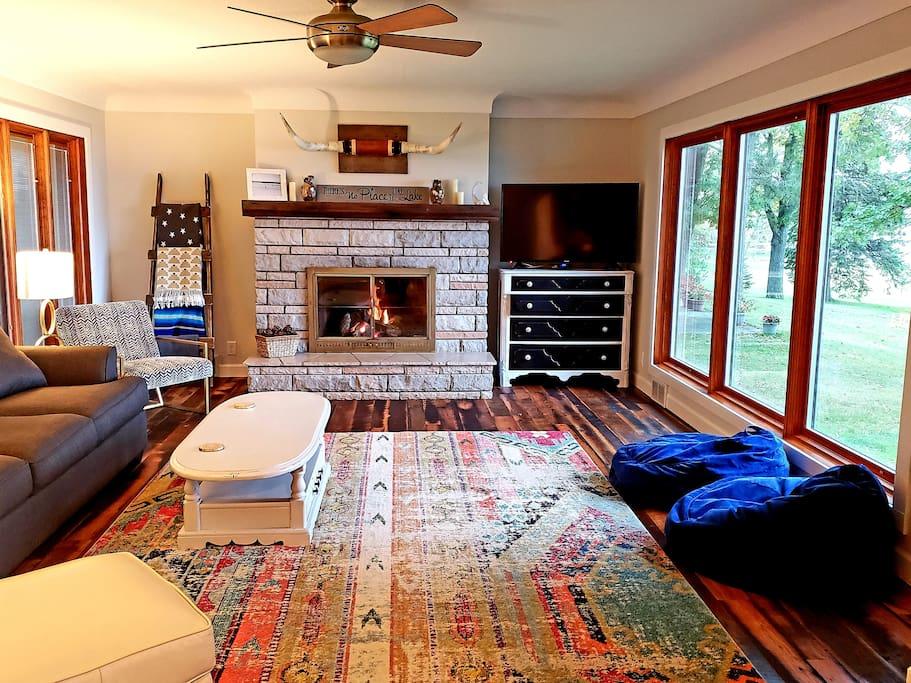 Living room- sleeper sofa, ceiling fan, board games