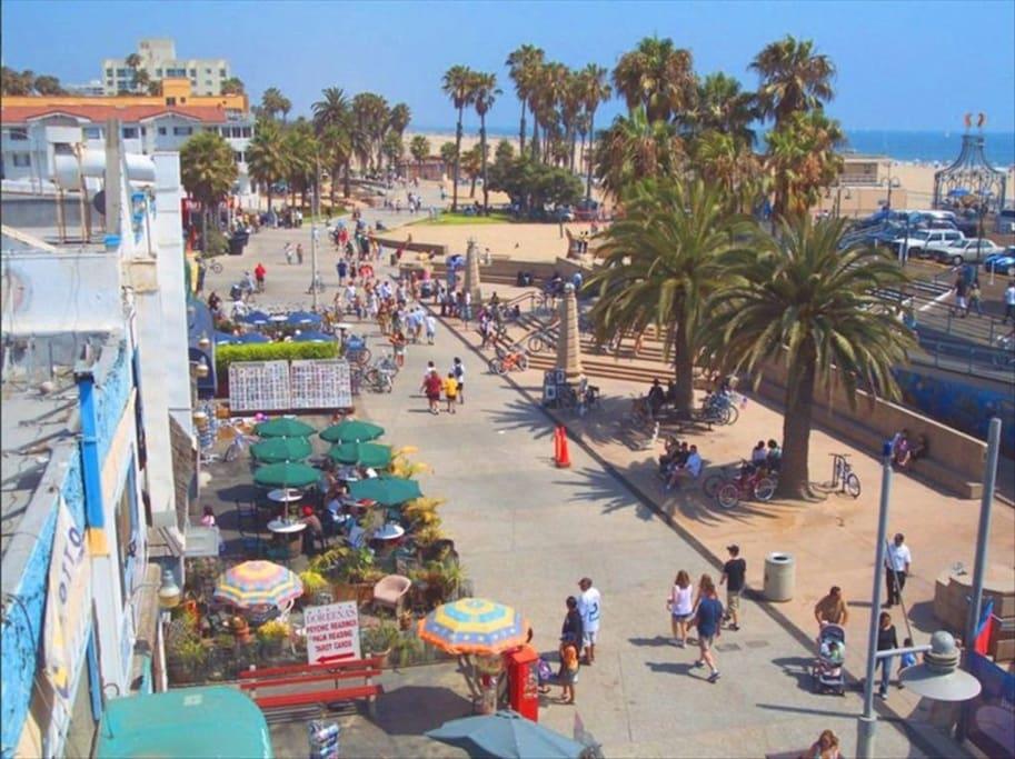Santa Monica boardwalk is just around the corner