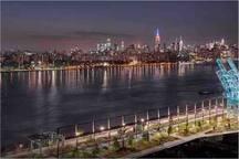 Views of Manhattan from Domino Park
