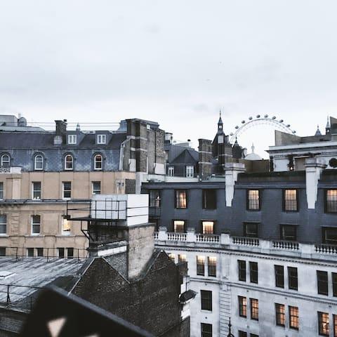 London eye view in Trafalgar Sq - Londres - Dormitorio compartido