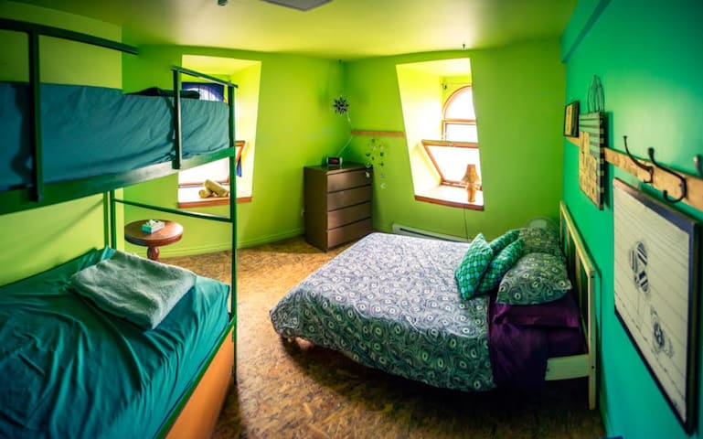 Private room for four (double bed and a bunk bed)