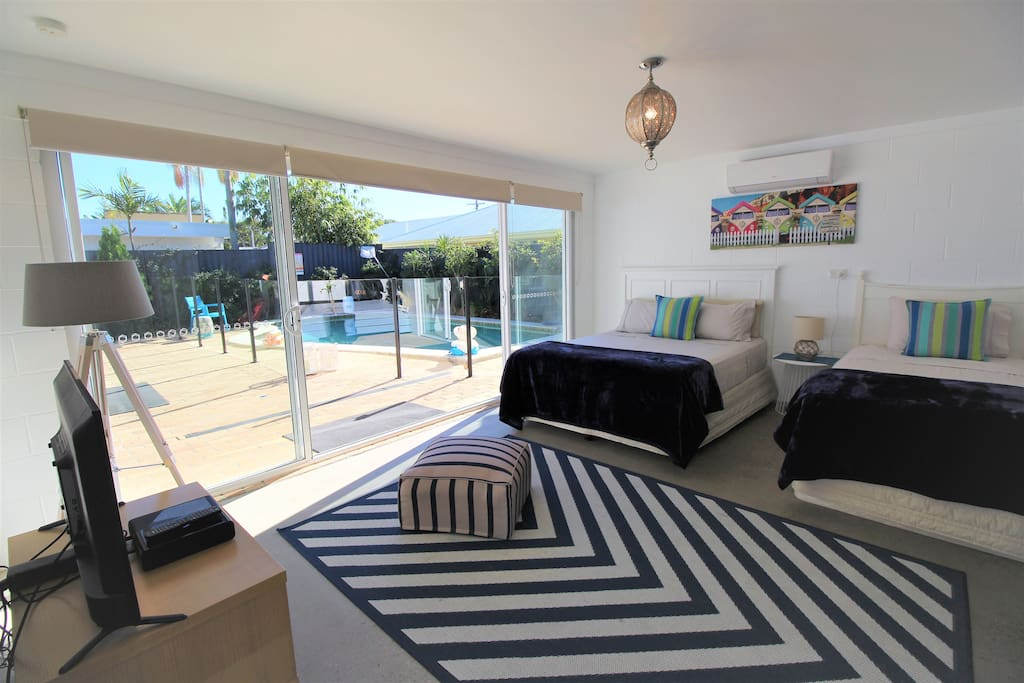 Pool House with Queen and King Single, Aircon, TV and ensuite.