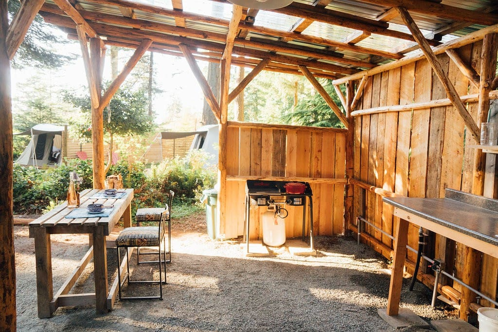 come enjoy our fun outdoor kitchen space soon to have a wood fired pizza oven