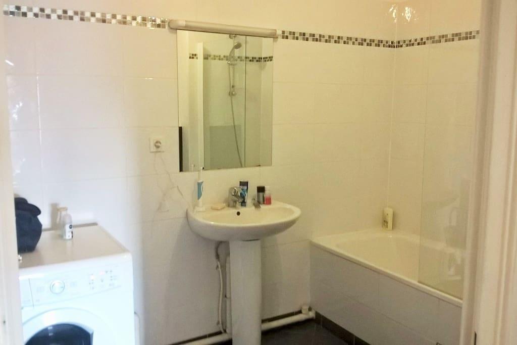 salle de bain avec baignoire, équipée d'une machine à laver