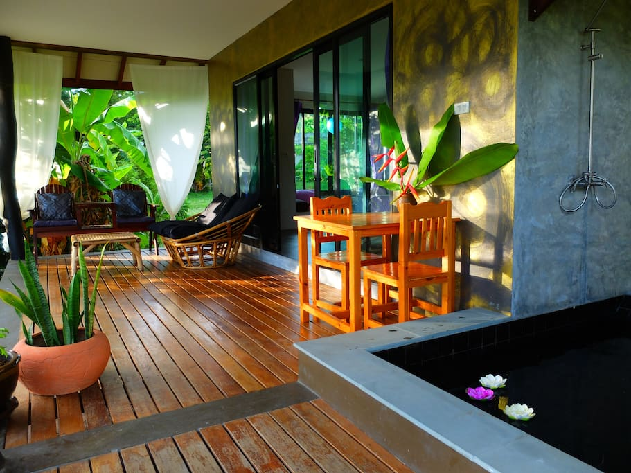 Outdoor bathtub on the private terrace