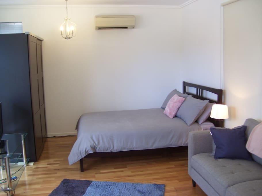 Bed Lounge Wardrobe TV