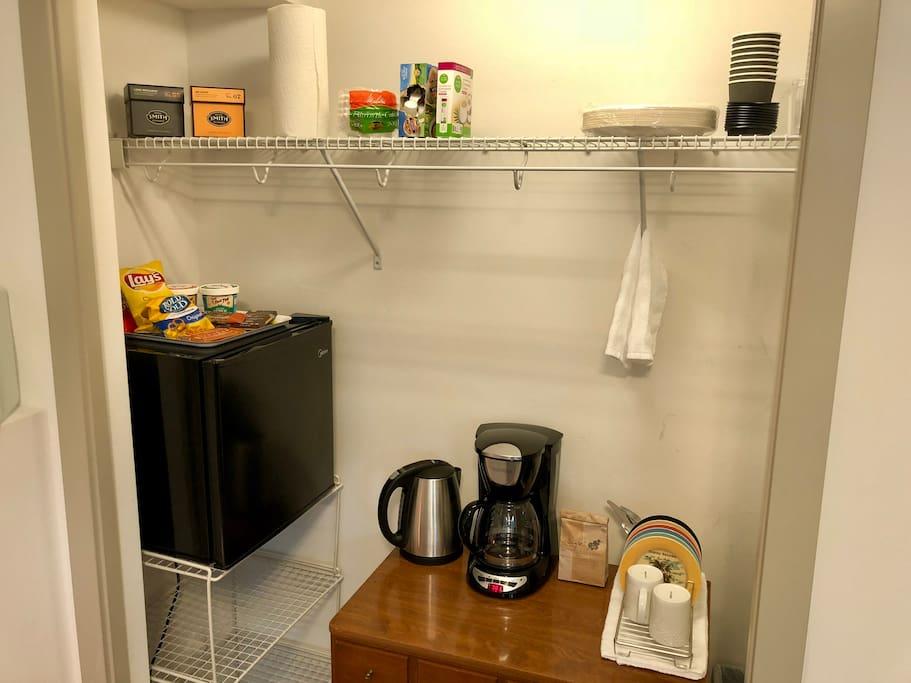 Kitchenette in Den - Coffee, Tea, & Snacks