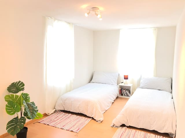 Twin-bed room. Possible to move two beds closed together.