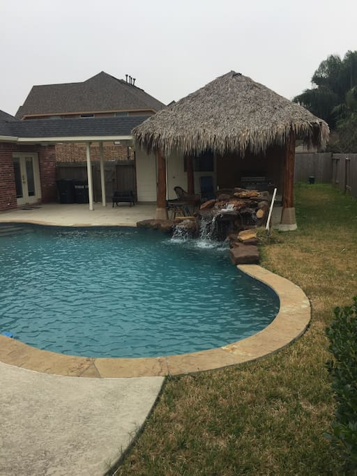 Outdoor pool and palapa