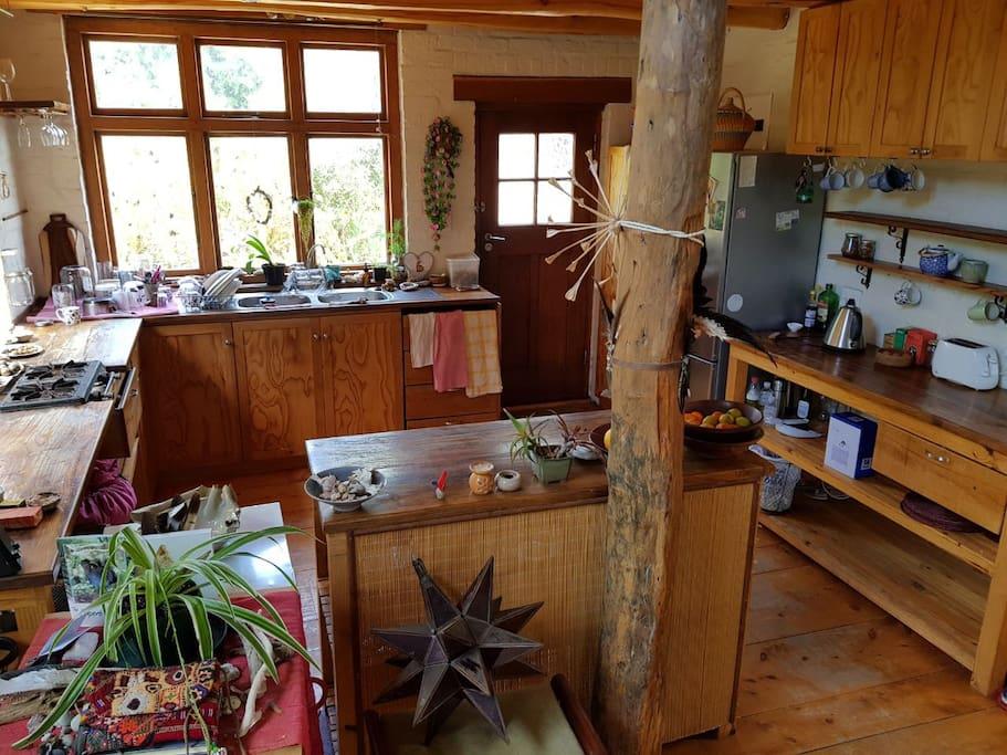 Front door and kitchen