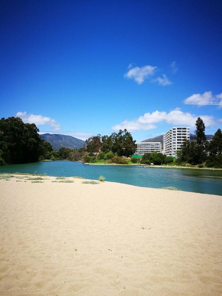 Papudo laguna directo a la playa preciosa vista