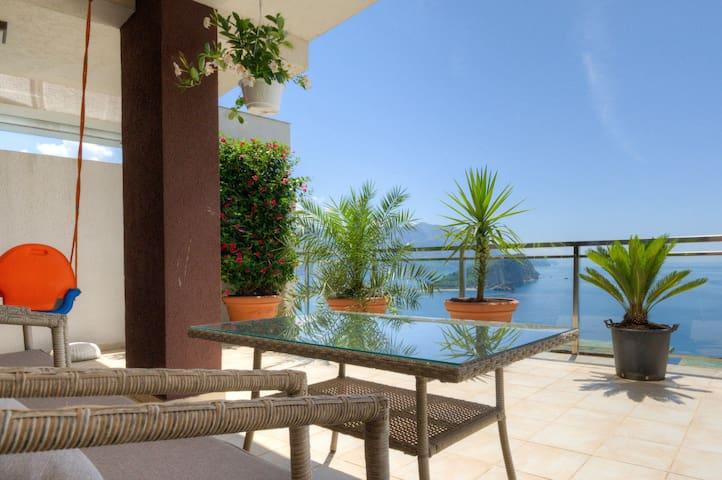 Budva 1bd ap with pool and panoramic sea view