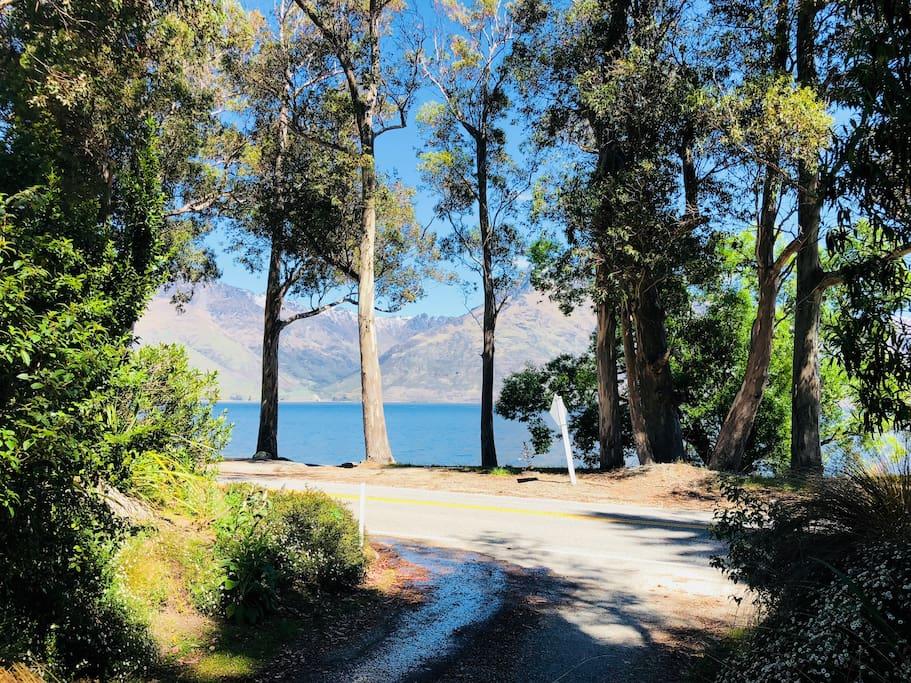 Stunning Lake Wakatipu at end of driveway