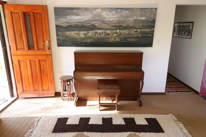 The piano and door to patio