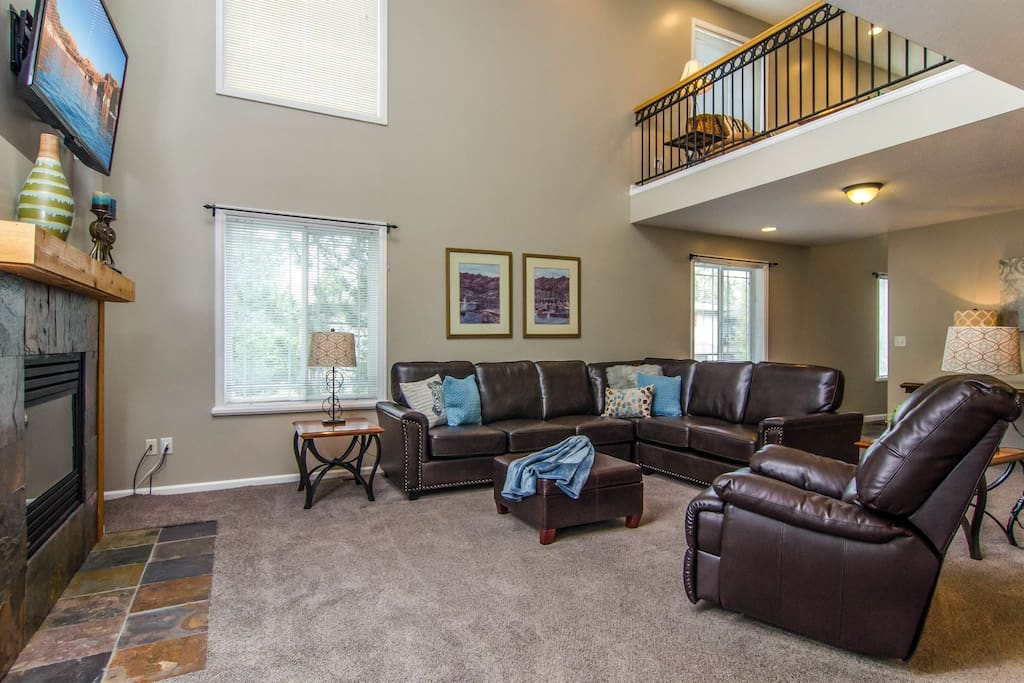 Family room open to adjacent dining area