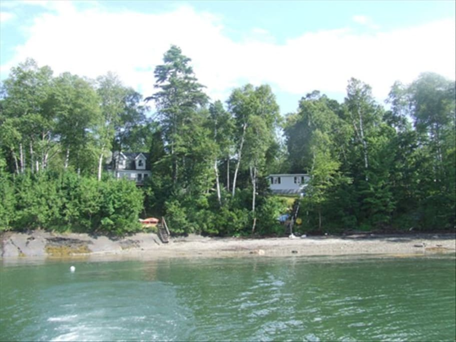 View of house from water.  Our cottage is on left.