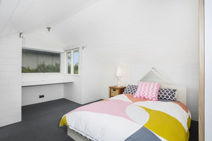 Bedroom 4 - This room is upstairs in Loft. Double bed with built in desk and storage cupboards
