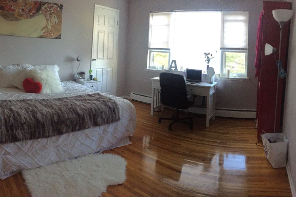 One of our beautiful spacious room with a queen size bed and a desk.