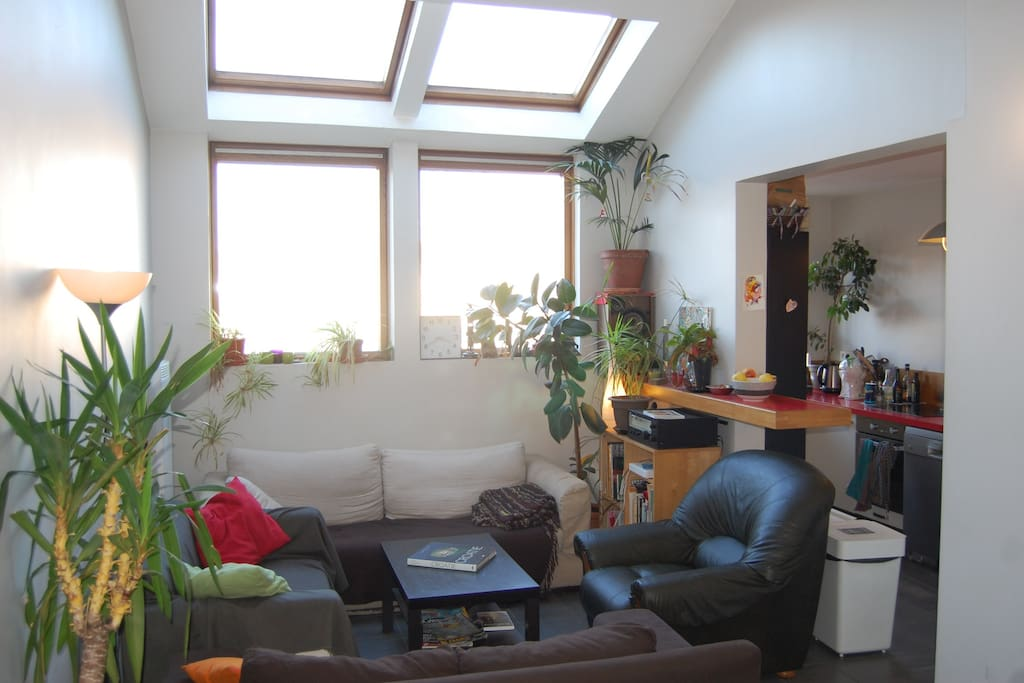 Very bright and comfortable living room. Connected to kitchen.