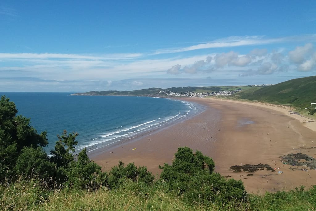 Woolacombe Sands.  A view from the coastal path to Baggy Point.
