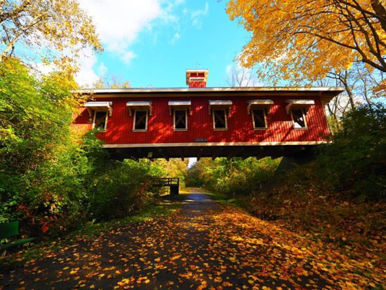 Hyde Rd covered bridge, one block from the Corry Street Retreat