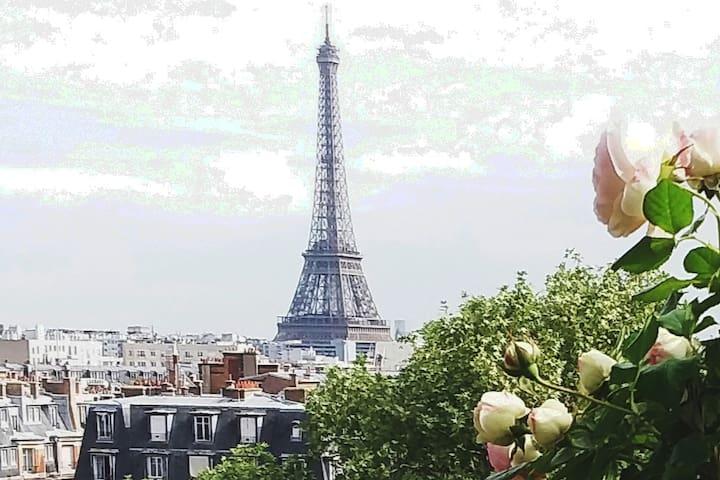 Chambre privée accès Terrasse avec vue Tour Eiffel
