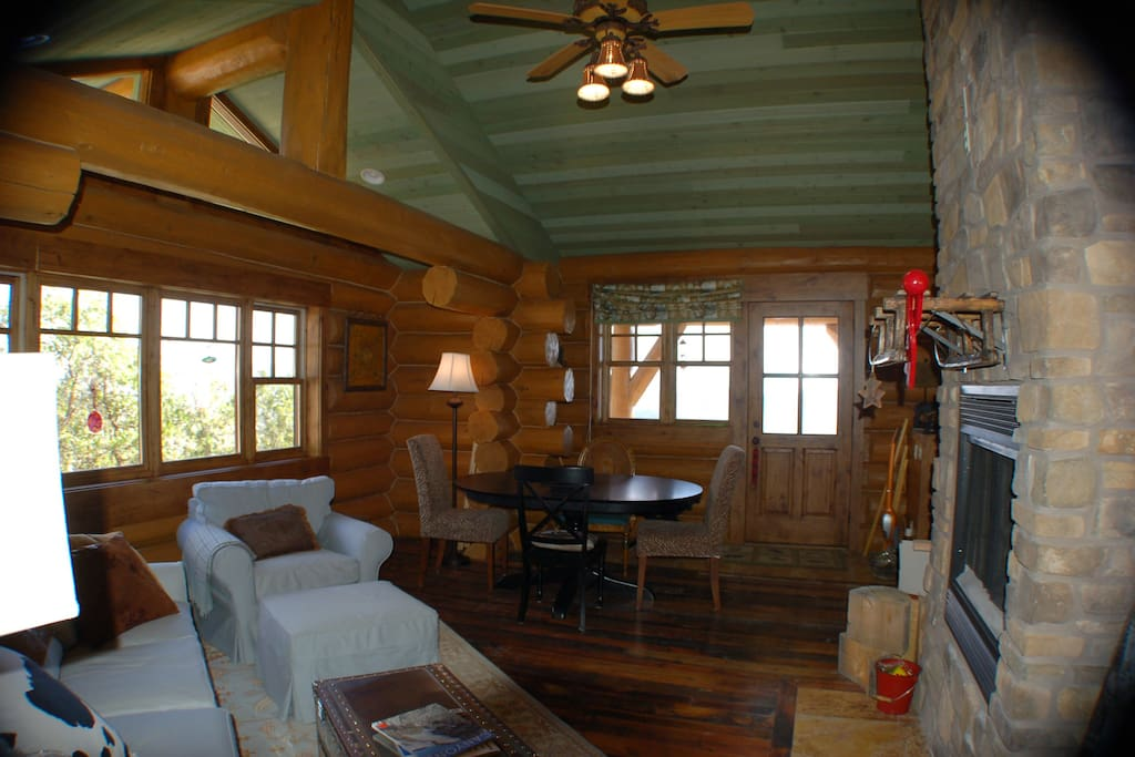 Cabin Living Room With Wood Burning Fireplace