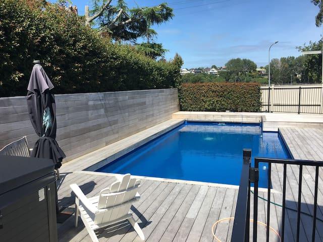 Pool area, park straight ahead over the fence