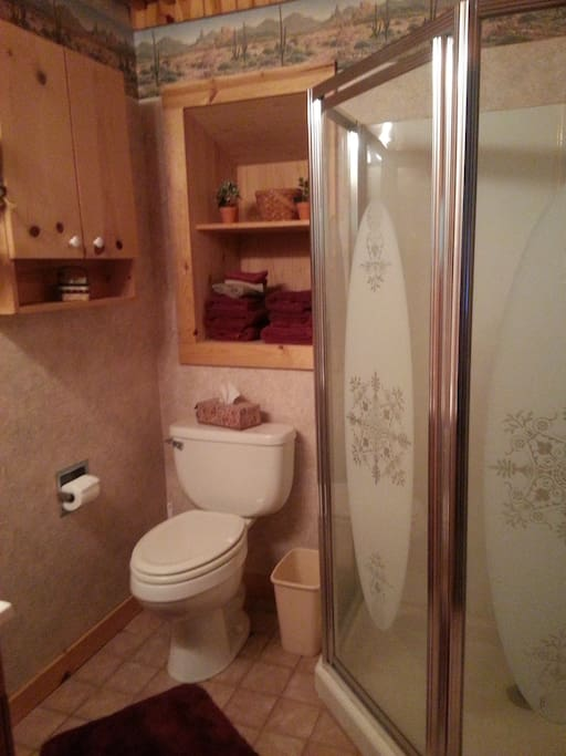 private bathroom with shower- towels provided