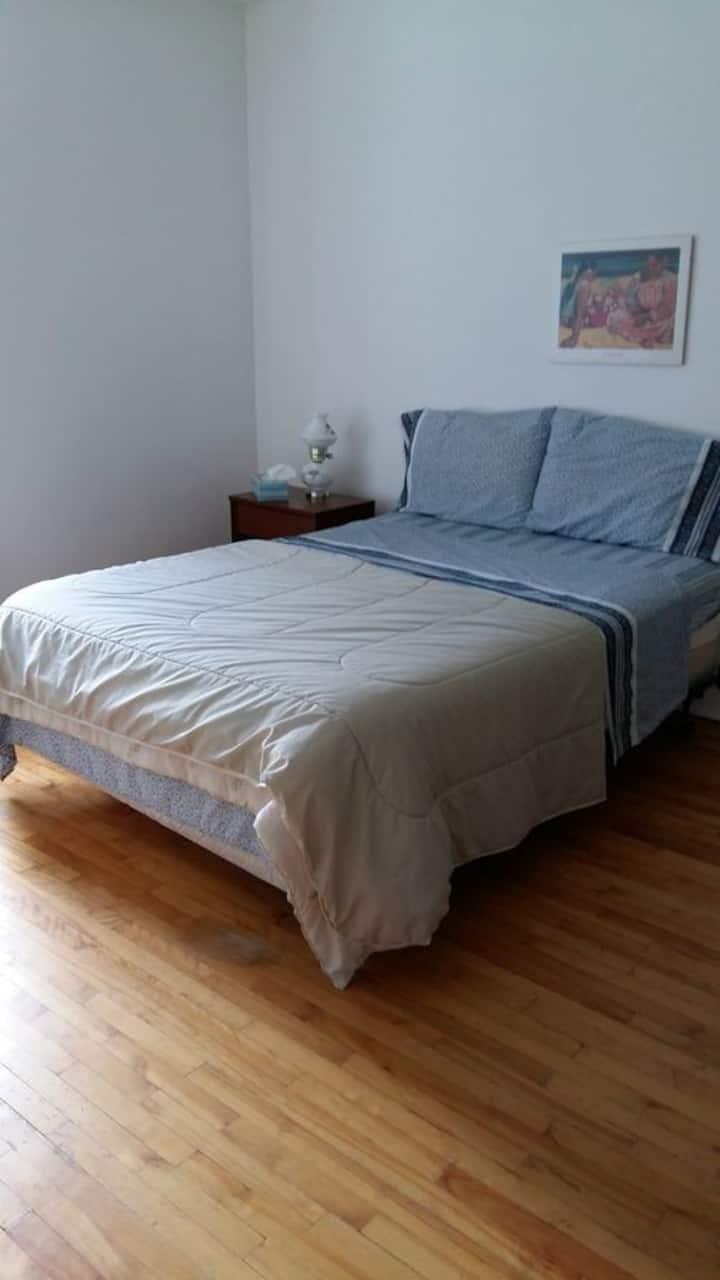 Grande chambre bien éclairée meuble