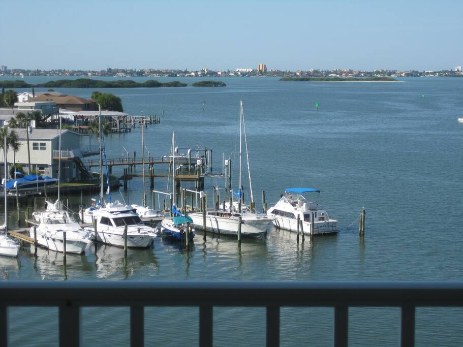 View of Boca Ciega Bay from private balcony.