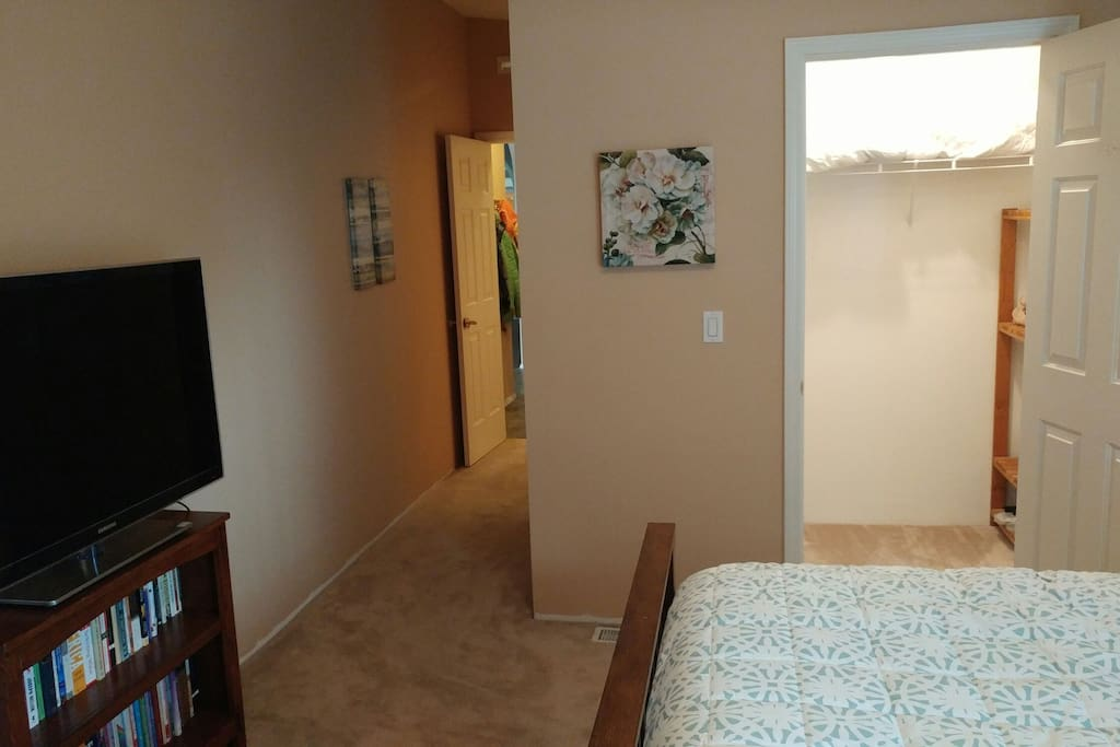 TV with cable and a walk in closet, private bath is down hall on right.