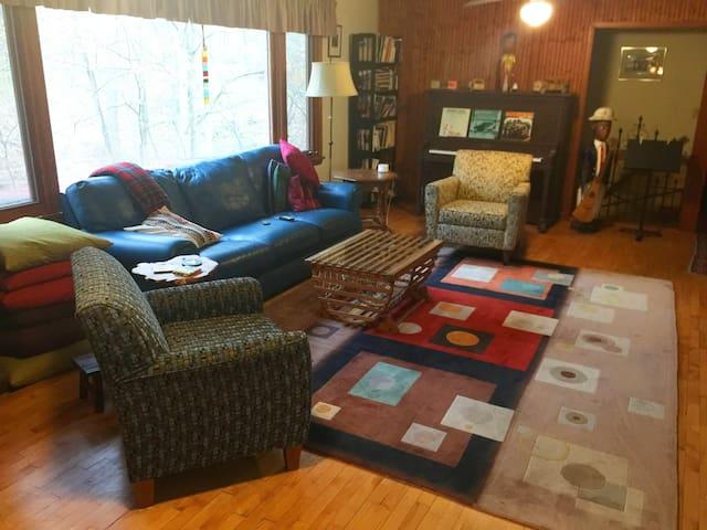 Living room and lake view