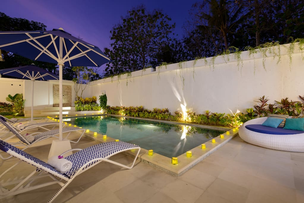 Poolside lounges for sunning or relaxing in the evening.