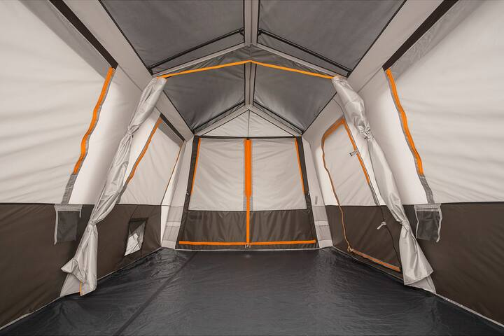 Interior of 15'x9' Bushnell tent (2BR with dividing (zippered) wall).