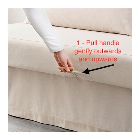 There are two double sofa beds in the living room. This one is very very easy to open and close. Directions start here.