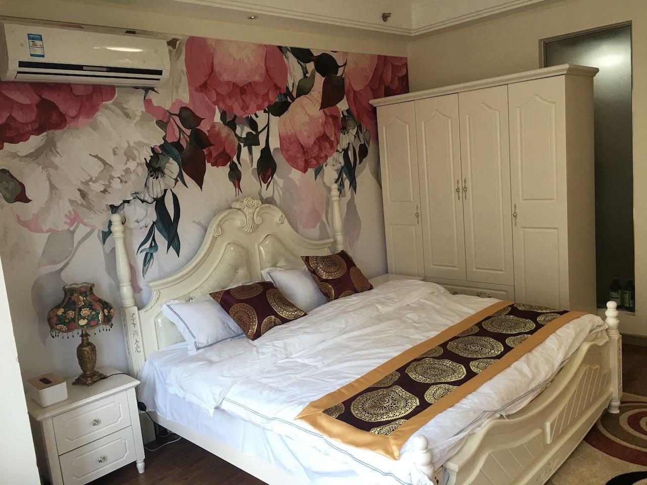 干净整洁、温馨的欧式风格的大床房,会让你有不一样的入住体验