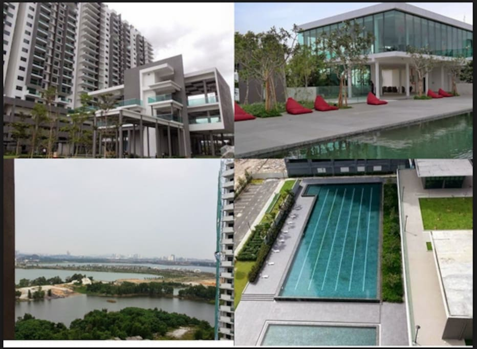 (Top right) Sky lounge, (bottom right) pool.