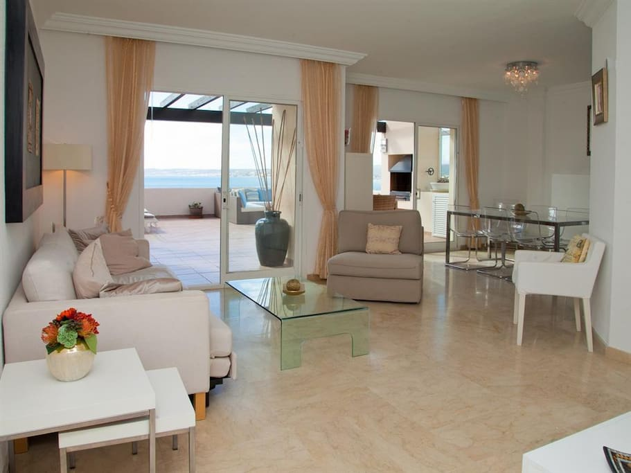 Large lounge with access to the terrace